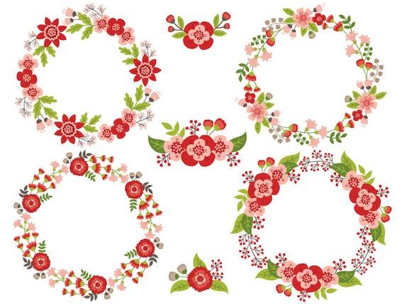 Couronne De Fleurs Clipart Vecteur Numerique Fleurs Etsy