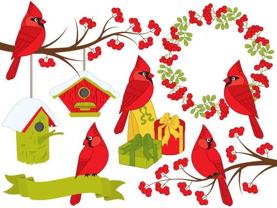 Cardinal Bird Clipart Digital Vector Xmas Christmas Etsy