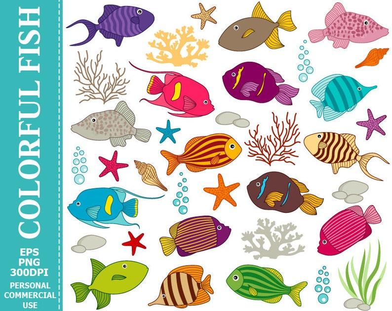 Pesci Colorati Digitali Clipart Mare Sott Acqua Pesce Etsy