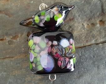 Blackberry Thief  lampwork bead set