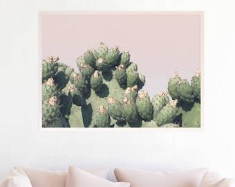 Cactus Art Print, affiche grand Cactus, Cactus photographie, Art mural Pastel, Boho Decor, Photo Prickly Pear Cactus imprimable Download, c5pgl