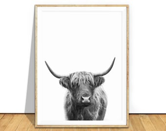 Highland Cow Art Highland Cow Print Digital Download Highland Cow Printable Wall Art Highland Cow Black and White Photo Poster Picture Gifts