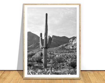 Desert Wall Art Print, Cactus Black And White Photography, South Western Boho Decor, Large Poster Printable Art, Digital Download, d7bwp