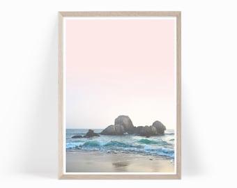 Ocean Photography Wall Art Printable, Ocean Photo Print Digital Download, Beach Photography, Ocean Beach Photography Pink Pastel Art, o3c2c2