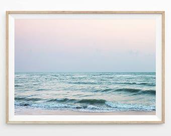 Abstrait océan Print, rose Wall Art, paysage marin photographie Télécharger océan Art imprimable Photo côtière Art Print plage vagues Pastel Art b7c5c