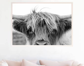Highland Cow Print, Large Black and White Farm Animal Photography Wall Art Print Poster, Instant Digital Download Nursery Printable hc3zlbw