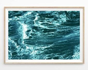 Abstract Ocean Waves Photography Wall Art Print, Ocean Printable Art, Coastal Ocean Digital Download, Ocean Print, Sea Photo Art, o2c4c1