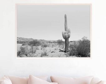 Wall Art Print téléchargement numérique, noir et blanc photographie de paysage désert, minimaliste Boho Decor, sud-ouest Cactus Art c4bwl du désert