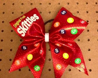 Skittles Cheer Bow