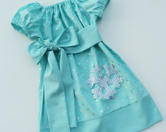 Frozen Inspired Snowflake Peasant dress   Sizes  6-12mo, 12-18mo, 18-24mo, 2t, 3t, 4t, 5/6 7/8