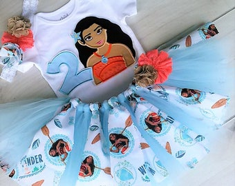 Moana Inspired  Birthday Outfit Personalized Tutu Set 1st Birthday - First Birthday Tutu -Personalized