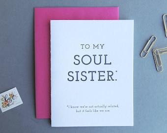 Soul Sister letterpress card, friendship everyday bestie love women best friends typography