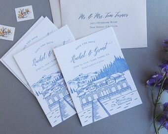 Vignette Save the Date, custom drawing illustration destination wedding resort hotel house unique
