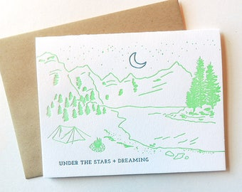 Under the Stars + Dreaming letterpress card, beach illustration mountains lake camping neon