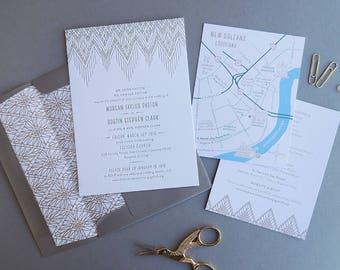 Bohemian Wedding Invitation Suite, modern boho letterpress macrame weaving gold map New Orleans whimsical clean simple