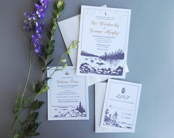 Lakefront Wedding Invitation Suite, letterpress illustration rustic outdoor nature lake forest woods trees moon stars camping flowers