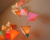 Paper Holiday Lights - THE FLAMINGO - handmade fairy lights in neon pink and orange, metallic copper, and aqua stripes