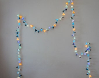 Paper Light Garland - THUNDERSTORM - cornflower blue, slate, black, and gold paper pyramid lanterns