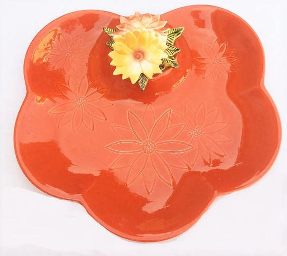Surprising California Pottery Dish Coffee Table Tray Orange Raised Relief Floral Bowl Gamerscity Chair Design For Home Gamerscityorg