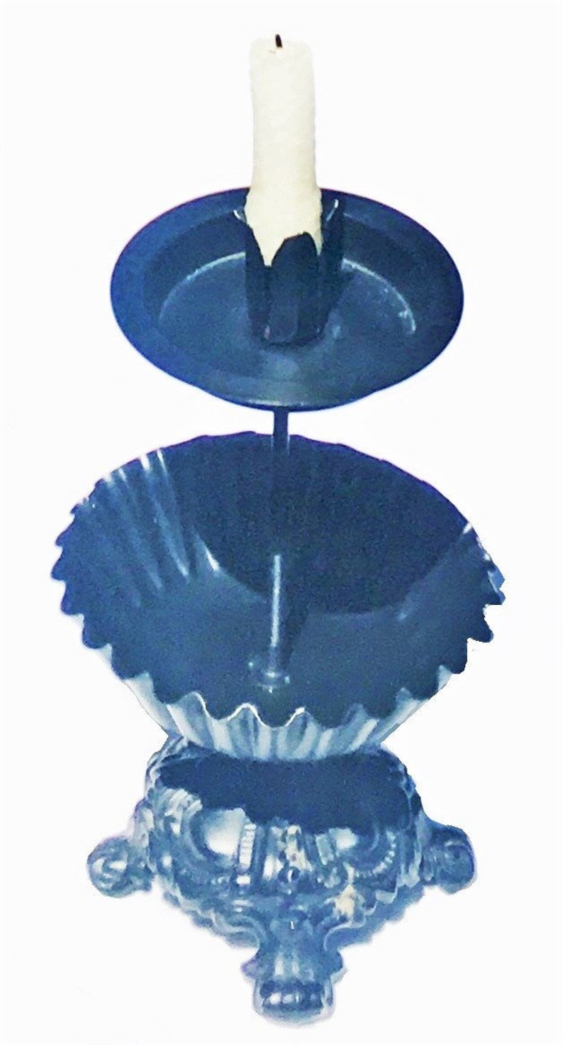 Rustic Candle Stand, black goth candlestick, two-tier candy bowl, off grid  lighting