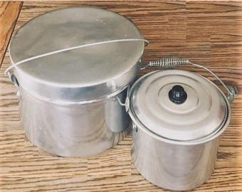 Aluminum Camping Cookware, rustic farm kitchenware, cabin pots and pans, scouts mess kit, biscuit baking pan