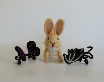 Needle Felted Bunny Yellow Felted Bunny Bunny with Wings Butterfly Rabbit  Butterfly Bunny Gothbunny Bat Wings