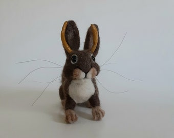 Needle Felted Bunny Felted Jackalope Bunny with Horns Rabbit with Antlers Brown Bunny
