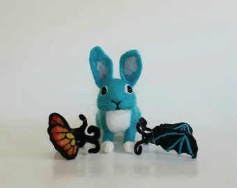Needle Felted Bunny Blue Felted Bunny Bunny with Wings Butterfly Rabbit  Butterfly Bunny Gothbunny Bat Wings