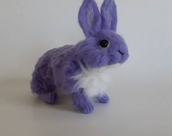 Needle Felted Bunny Purple Felted Bunny Felted Rabbit Handmade Felted Animal