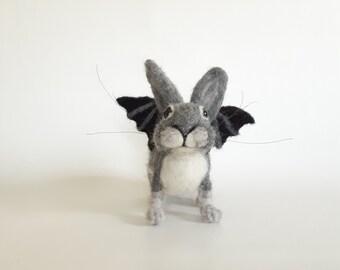Needle Felted Bunny Gray Felted Bunny Bunny with Wings Grey Rabbit  Gothbunny Bat Wings Halloween Bunny