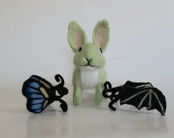 Needle Felted Bunny Light Green Felted Bunny Bunny with Wings Butterfly Rabbit  Butterfly Bunny Gothbunny Bat Wings