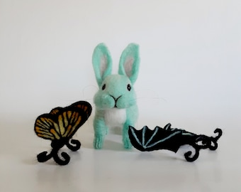 Needle Felted Bunny Green Felted Bunny Bunny with Wings Butterfly Rabbit  Butterfly Bunny Gothbunny Bat Wings