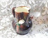 Pitcher made in Austr Brown Flowered Pitcher, Pottery Flowered Pitcher, Primitive Flowered Pitcher, Vintage Kitchen Decor, Home Decor sh d