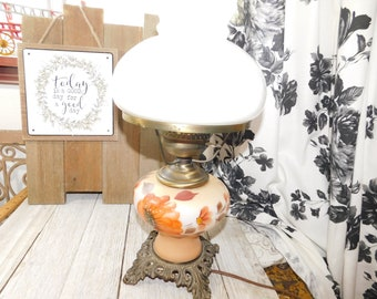 6fd8990cf7e Hurricane Lamp In Earth Tone Brown Colors and Pretty Flowers 2 way light
