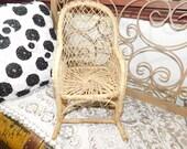 Vintage Rattan Wicker Rocker for Dolls, Rattan Doll Furniture, Doll Furniture, Doll Chair, Doll Rocking Chair, Vintage Doll Furniture, shc