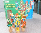 Vintage Toys, First Learning Wooden 10 Pin Bowling Game with Wooden Ball, Bowling, Toddler Games, Learning Games, Toys, )shny