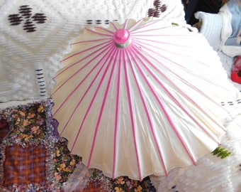 Paper And Bamboo Parasol Vintage Umbrella Asian Decor Home Prop SIO