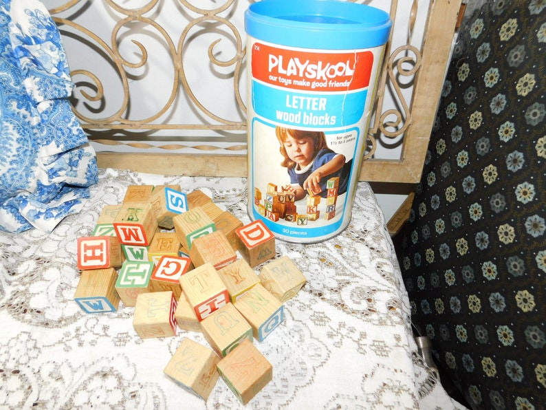 Playskool Wooden Block Set In Container 1977 Vintage Wooden Play Blocks Vintage Childrens Toys Made In The Usa S