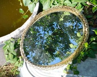 Vanity Mirror, Mirror, Ornate Gold Oval Vanity Mirror, Vanity Decor, Dresser Top  Mirror, Bathroom Decor, Vintage Home Decor, :)s*