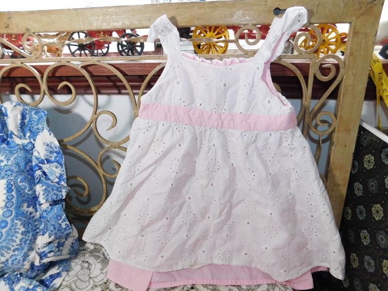 Cherokee 18 Mo Eyelet Embroderyed Pink and White Dress, Toddler Sun Dress, Vintage Little Girls Sun Dress : s*