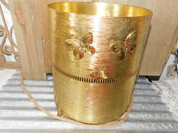 Hollywood Regency Gold Waster Basket With Butterflys