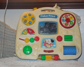 Busy Box, Crib Toy, Vintage Fisher Price,Vintage Toys,Vintage Baby toys,93 For Crib or to Carry and Play :)s