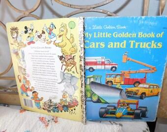 Cars and Trucks Golden Book, Vintage Childrens Book, Vintage Book, Preschooler Book,