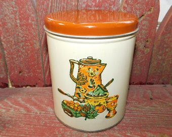 Vintage Decoware Tin Can  Canister with Embossed Coffee Pot, Vintage Tin Canister, Vintage Tin Can,