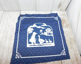 Vintage Fabric Panel with Girl and Geese on it, Vintage Panel, Crafts, quilt panel, Daysgonebytreasures