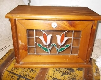 Bread Box, Stained Glass Bread Box, Stained Glass, Vintage Kitchen, Stained Glass, Vintage home Decor, Country Decor, Farm House Decor :)s