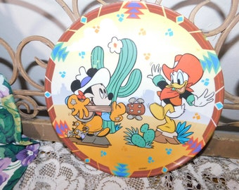 Western Mickey and Donald Duck in Siesta in the Desert, Child's Plate,Child's dishes,Disney, :)s*