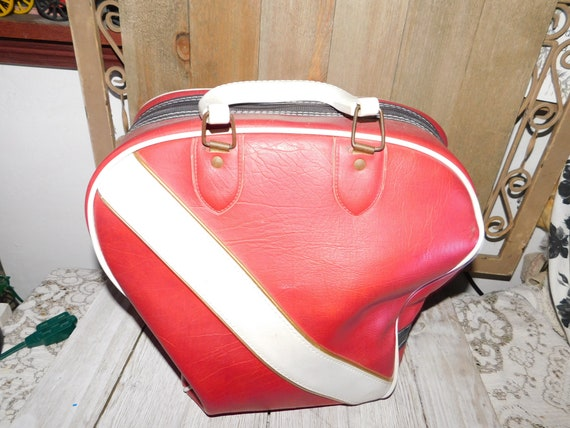 Bowling BagRed and White Home Decor Vintage Bowling Bag  387de9efa359b