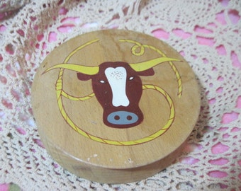 Wooden Hamburger Press with Steer and ropes  on Front of It, Hamburger, Meat Press, Country Decor, Farm House Decor, :)s*