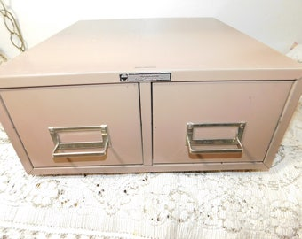 Steel Master Retro Vintage Metal Double Files Drawers Cabinets, Card Catalog Filing Cabinet, Recipe Card Size